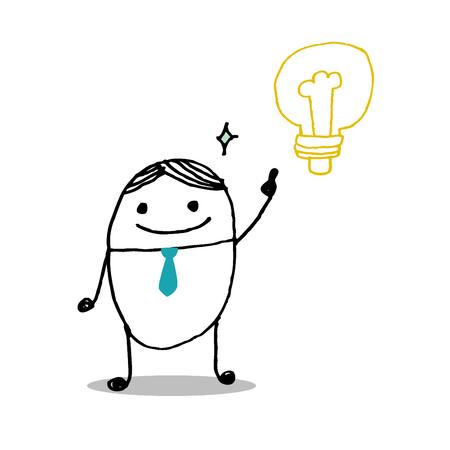 businessman with light bulbs Idea concept  Vector Illustration art Vector
