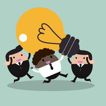 brilliant idea: Businessman With Teamwork Spirit Illustration