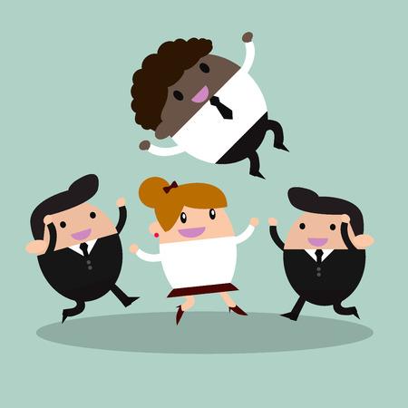 gainer: Victory. Businessman With Teamwork Spirit Illustration