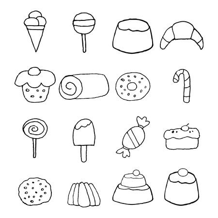 galleta de chocolate: Dulces y caramelos iconos conjunto