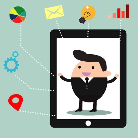 business meeting computer: businessman with business social media icons Illustration