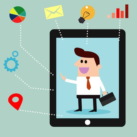 briefing: businessman with business social media icons Illustration