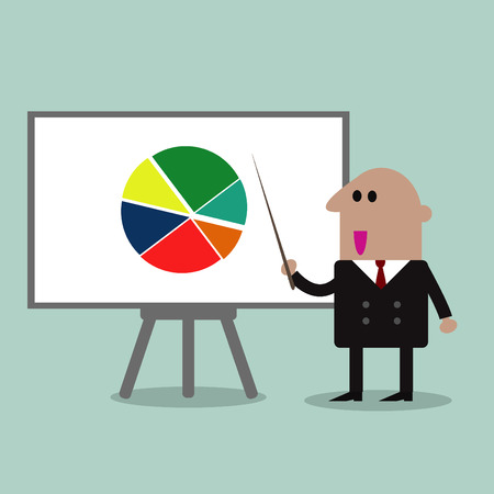 white board: businessman pointing at a board at a presentation Illustration