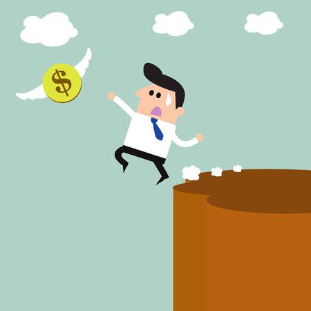 dinero volando: La quiebra de negocios y dinero volando Vectores