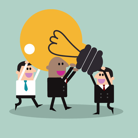 hooray: Victory. Businessman With Teamwork Spirit Illustration