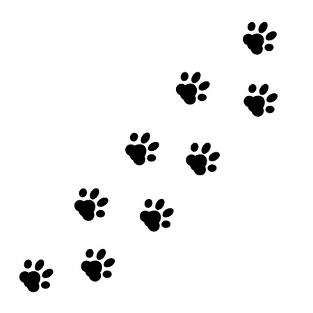 blue prints: Paw Print. Vector Illustration