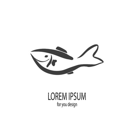 fish icon  seafood labels vector
