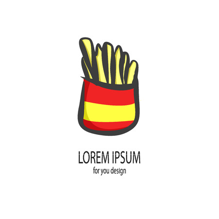 potato chip: illustration of French friesFast Food Vector IconFrench Fries Potato in Bucket.