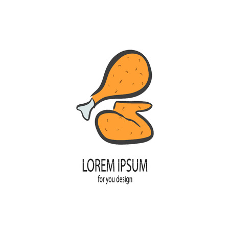 pollo a la brasa: Pollo frito en el fondo blanco Ilustración vectorial de pollo frito