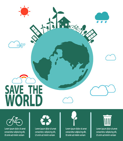 crops: Save the World Concept , Green City, environment, ecology infographic