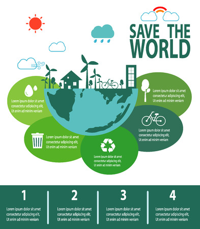 green city: Save the World Concept , Green City, environment, ecology infographic