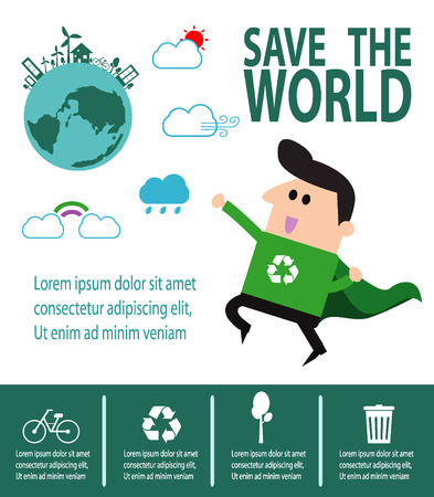hero: Super Recycling Hero, environment, Save the World Concept , Vector Illustration