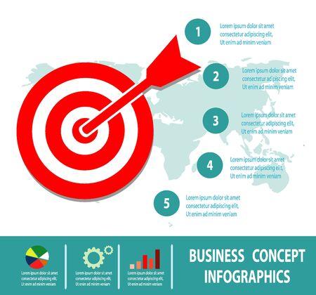 OBJETIVOS: Concepto de negocio, el concepto de meta aislado en el fondo blanco, concepto de negocio, Infografía, ilustración vectorial.