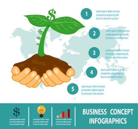 growing business: business growing, business concepts in flat style, investing and attracting capital to business, Vector Illustration Illustration