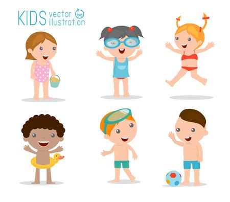 maillot de bain: enfants sur la plage, les enfants jouer à l'extérieur, Vector Illustration.
