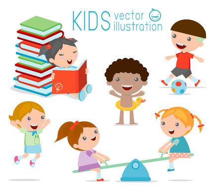 幸せな漫画の子供たちの演奏、白背景で遊ぶ子供たちのベクトル イラスト  イラスト・ベクター素材