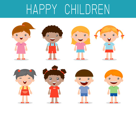 幸せな子供、幸せ、子供シンボル子ベクター グラフィックを設定します。