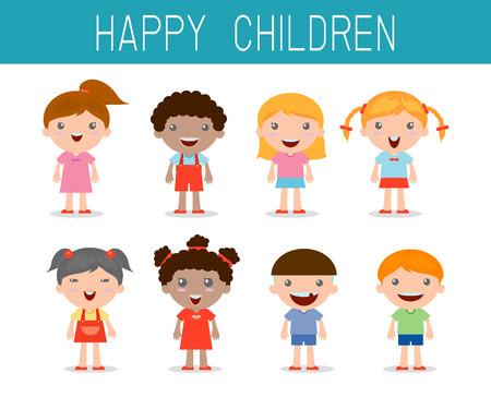 niños felices establecer, feliz, niño símbolo niño, ilustración vectorial