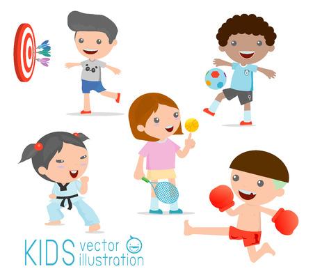 Bambini e sport, bambini che giocano vari sport su sfondo bianco, cartoni animati sport per bambini, boxe, calcio, tennis, karate, freccette, illustrazione vettoriale Archivio Fotografico - 43412266