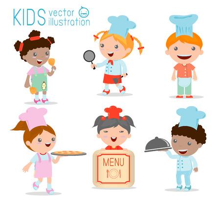 niños cocinando: Lindo Chef Kids, Ilustración de cocina Niños, Niños Cocina, Niños Cocinero lindo, ilustración vectorial Vectores