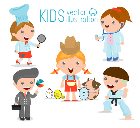 for a dream: Childrens dream jobs, professions in dream for kids, Happy children in work wear.