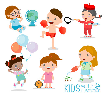 kinder garden: kid playing and lifestyle, vector illustration Illustration