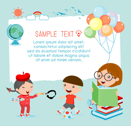 Illustration of a kids and beautiful background, happy children, back to school