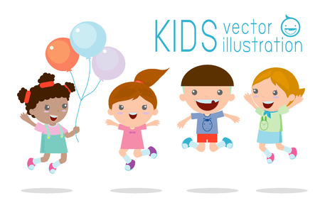 Kids jumping with joy , happy jumping kids, happy cartoon kids playing, Kids playing on white background , Vector illustration Ilustração