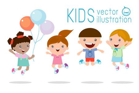 Los niños que saltan con alegría, felices los niños saltando, feliz niños de dibujos animados, jugando Niños jugando en el fondo blanco, ilustración vectorial Vectores