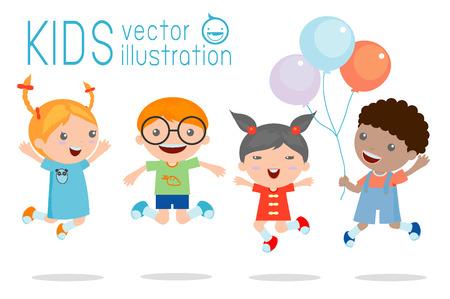 Děti skákat radostí, šťastné skákat děti, šťastný karikatura děti si hrají, děti si hrají na bílém pozadí, vektorové ilustrace Ilustrace