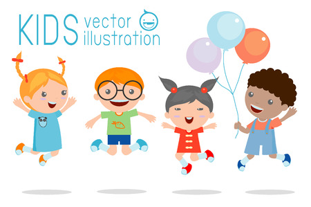 Kids jumping with joy , happy jumping kids, happy cartoon kids playing, Kids playing on white background , Vector illustration 向量圖像