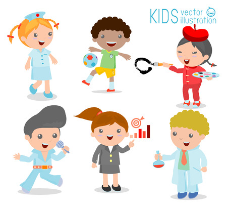Childrens Dream Jobs Professions In For Kids Happy Children Work Wear