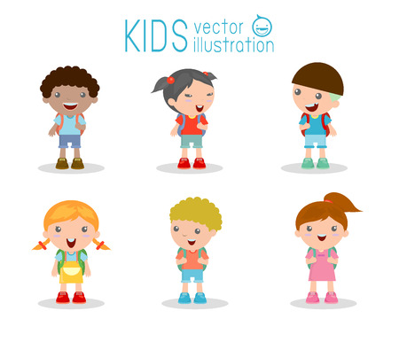 niño con mochila: Los niños van a la escuela, de nuevo a la escuela, los niños lindos de la historieta, niños felices, ilustración vectorial.
