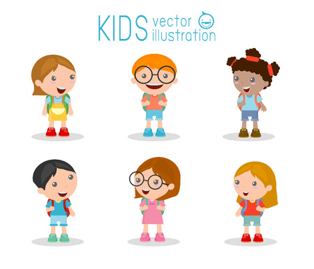backpack school: Kids go to school, back to school, Cute cartoon children, happy children, Vector Illustration. Illustration