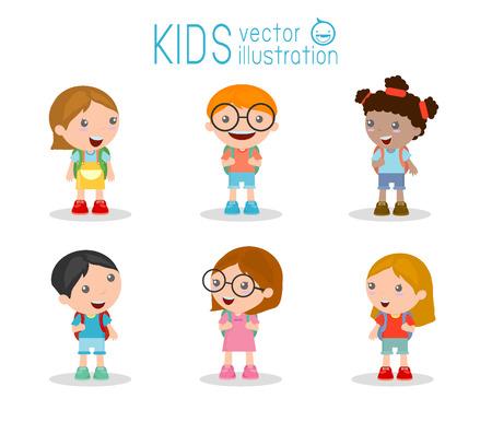 adolescentes estudiando: Los ni�os van a la escuela, de nuevo a la escuela, los ni�os lindos de la historieta, ni�os felices, ilustraci�n vectorial.