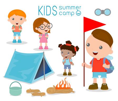 Illustrazione vettoriale di camp per bambini estate, Bambini su un campeggio viaggio. Archivio Fotografico - 43412321