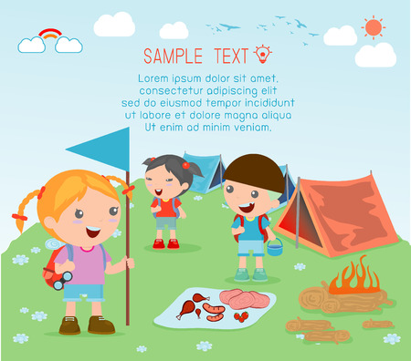 vector illustration of kids summer camp, Kids on a Camping Trip. Ilustração