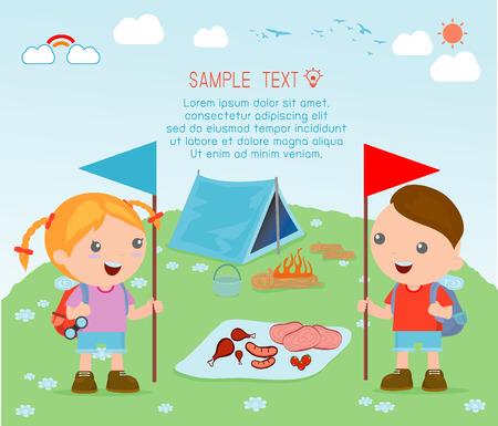 vector illustration of kids summer camp, Kids on a Camping Trip. Illustration