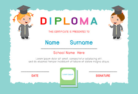 Certificates kindergarten and elementary , Preschool kids diploma certificate elementary school