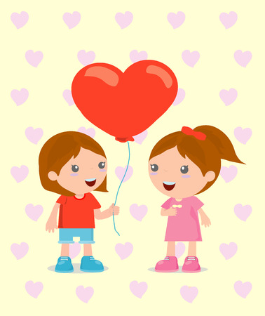 two children: cute cartoon couple in casual clothes, romantic couple , vector Illustration