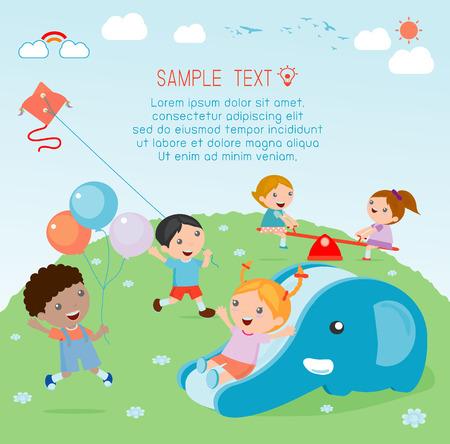 kids at playground, kids time. Ilustrace