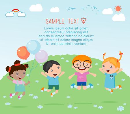playground children: Los ni�os que saltan en el patio de recreo para ni�os, saltando de alegr�a, felices los ni�os saltando, feliz de dibujos animados los ni�os juegan, los ni�os que juegan en el fondo Vectores