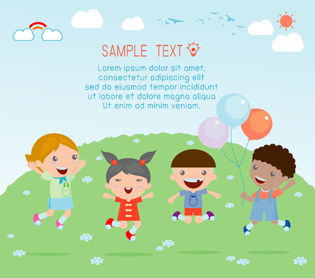 Il salto dei bambini nel parco giochi, bambini che saltano di gioia, salto dei bambini felici, bambini felici cartone animato giocando, Bambini che giocano su sfondo Archivio Fotografico - 43412333