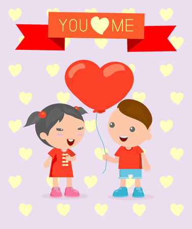 romantic date: LOVE Happy Valentines day , romantic couple , vector Illustration , cartoon children.
