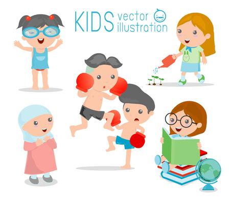 kid vector: felices los niños de dibujos animados, los niños jugando en el fondo blanco, chico de juego y estilo de vida, ilustración vectorial Vectores