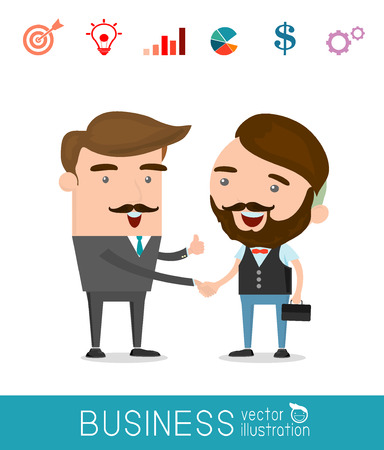 dogma: business partners handshaking - Business people shaking hands, modern flat icon,Vector Illustration