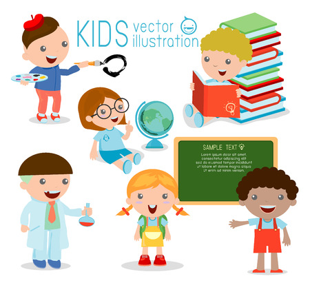 Di nuovo a scuola. cartoon bambini felici in aula, biologia, botanica, chimica, disegno. Ha scritto con il gesso sulla lavagna, bambini felici, bambino, illustrazione vettoriale Archivio Fotografico - 43430641
