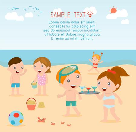 costume de bain: enfants sur la plage, les enfants jouer à l'extérieur, Vector Illustration.
