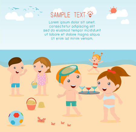 child swimsuit: kids on the beach , kids playing outside, Vector Illustration. Illustration