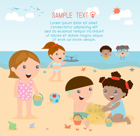child: kids on the beach , kids playing outside, Vector Illustration. Illustration